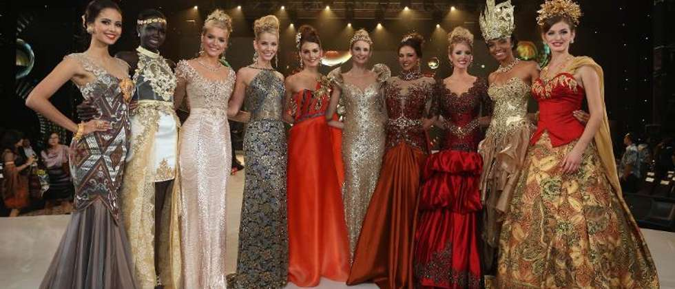 The top 10 contestants in the fashion show pose during the event at the convention center in Nusa Dua, on Indonesia's resort island of Bali on September 24, 2013