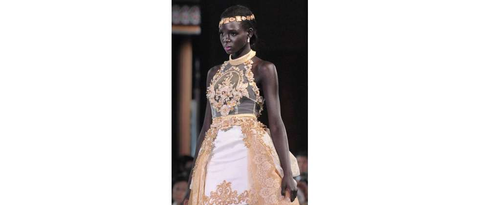 Miss South Sudan, Modong Manuela Mogga on the catwalk during the fashion show of Miss World, on Bali, September 24, 2013