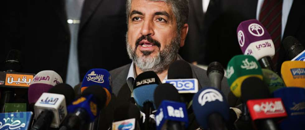 Hamas Leader Khaled Meshaal gives a press conference at the Journalist Syndicate building  - Photo: AFP/Gianluigi Guercia