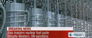 An image grab from state-run Press TV on February 15, 2012 shows centrifuges at Iran's Nantanz nuclear site ( - (PRESS TV/AFP) )