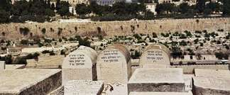 Mount of Olives graveyard, overlooking Jerusalem's Temple Mount (  )
