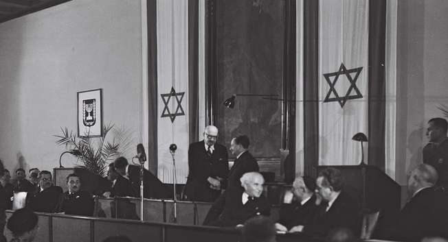 Israeli President Haim Weizman opening the first session of the Constituent Assembly, 14 February 1949 ( Wikipedia )