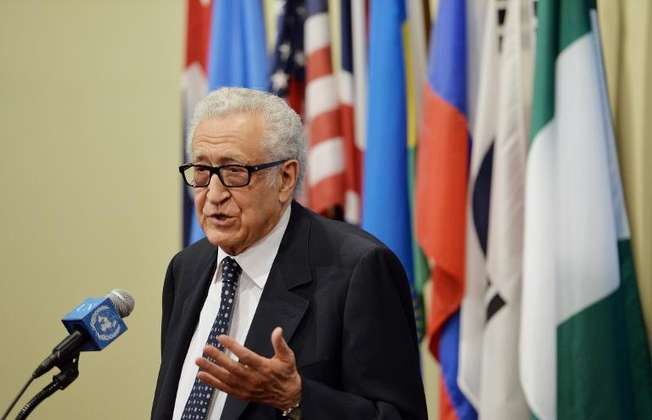 United Nations Special Envoy, Lakhdar Brahimi, talks to the media after a Security Council meeting on Syria, at the UN headquarters in New York, on March 13, 2014 (Stan Honda (AFP/File))