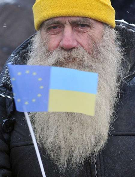 An elderly protester waves an EU and Ukrainian flag as he takes part in an opposition rally in the western Ukrainian city of Lviv on December 7, 2013 ( Yuriy Dyachyshyn (AFP) )