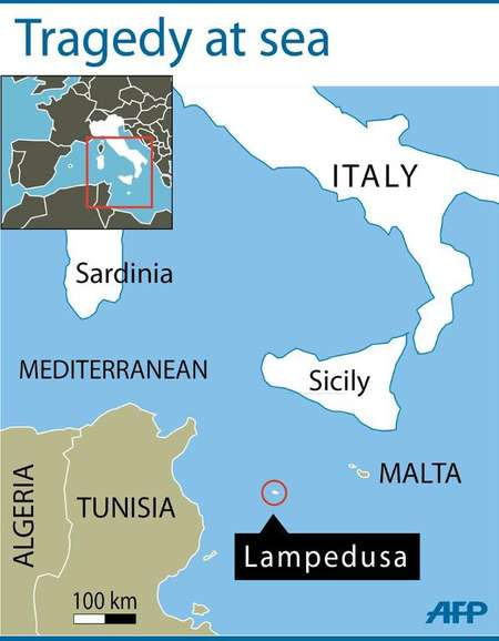 Lampedusa Italy  City new picture : Map locating Italy's Lampedusa, where a boat carrying some 500 people ...