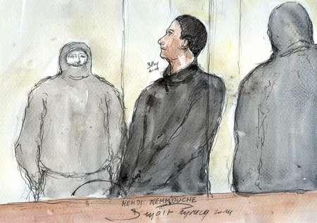 Croquis d'audience de Mehdi Nemmouche le 5 juin 2014 au tribunal de Versailles ( Benoît Peyrucq  (AFP) )